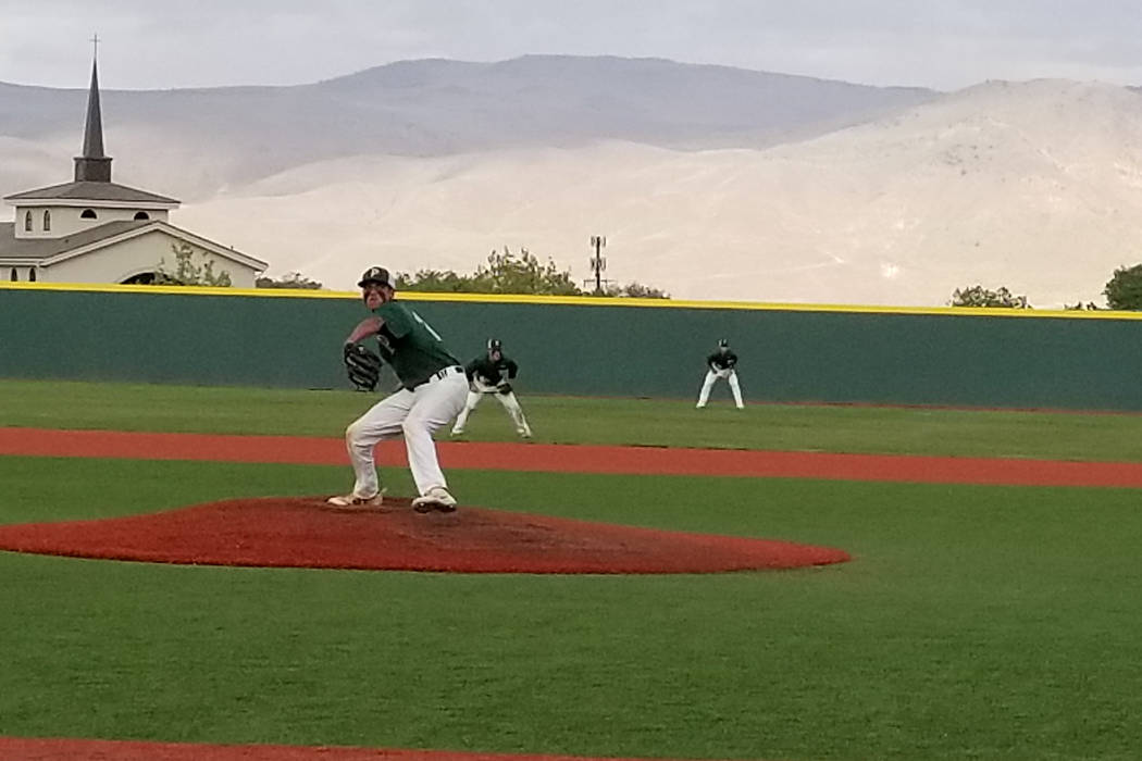 Palo Verde's Jaret Godman fires a pitch against Bishop Manogue in the Class 4A state baseball tournament on Thursday, May 17, 2018 at Bishop Manogue in Reno. Palo Verde defeated Manogue, 1-0. (Dam ...