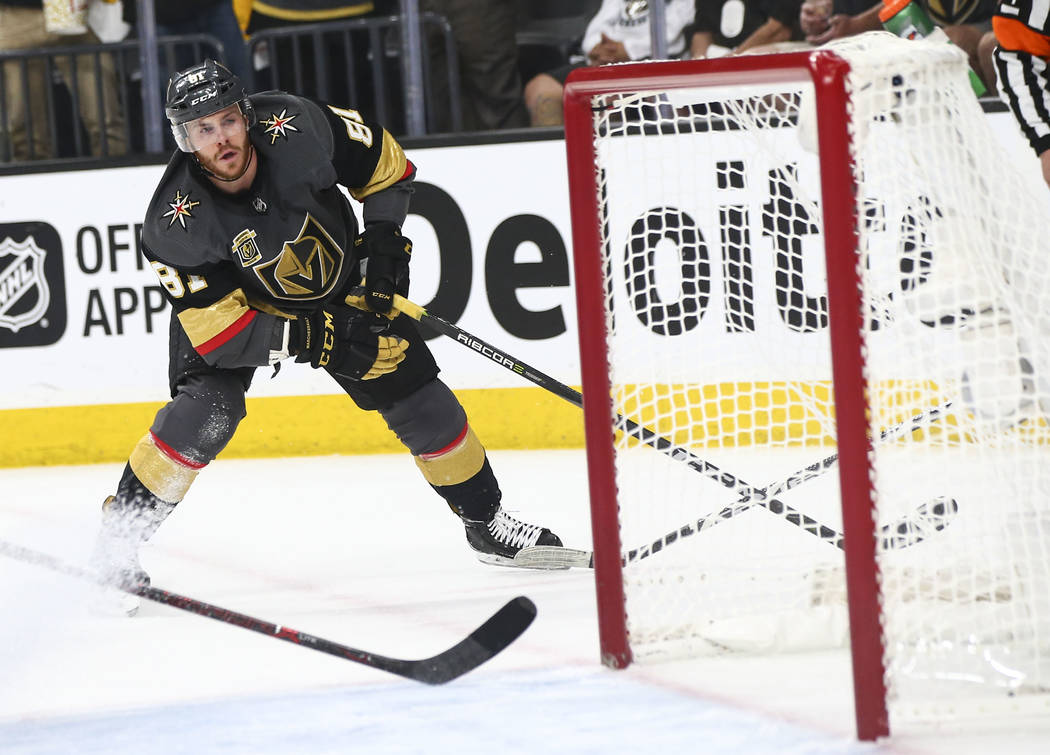 Golden Knights center Jonathan Marchessault (81) scores an empty net goal against the Winnipeg Jets during the third period of Game 3 of the NHL Western Conference finals hockey playoff series at ...