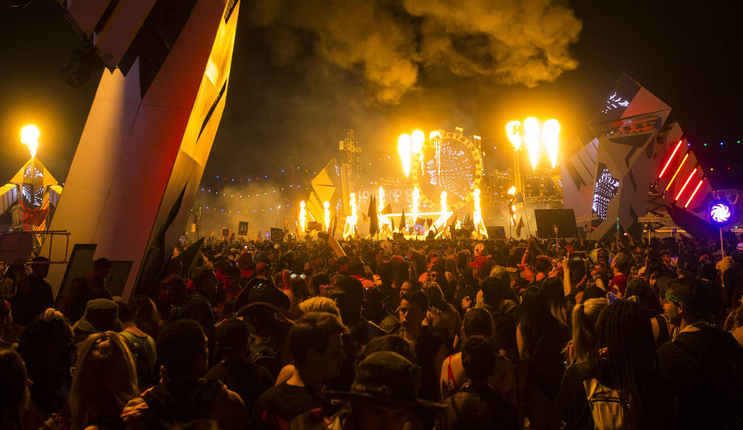 Black Tiger Sex Machine performs at the Basspod stage during the third day of the Electric Daisy Carnival at the Las Vegas Motor Speedway in Las Vegas during the early hours of Monday, May 21, 201 ...