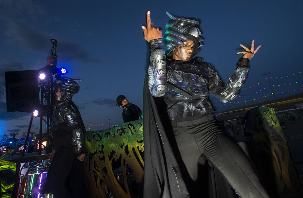 A costumed performer dances at the Parliament art car during the first day of the Electric Daisy Carnival at the Las Vegas Motor Speedway in Las Vegas on Friday, May 18, 2018. Chase Stevens Las Ve ...