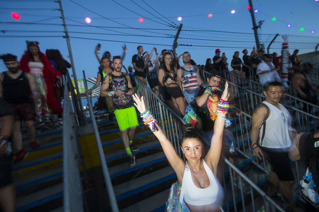 Attendees,arrive for the first day of the Electric Daisy Carnival at the Las Vegas Motor Speedway in Las Vegas on Friday, May 18, 2018. Chase Stevens Las Vegas Review-Journal @csstevensphoto
