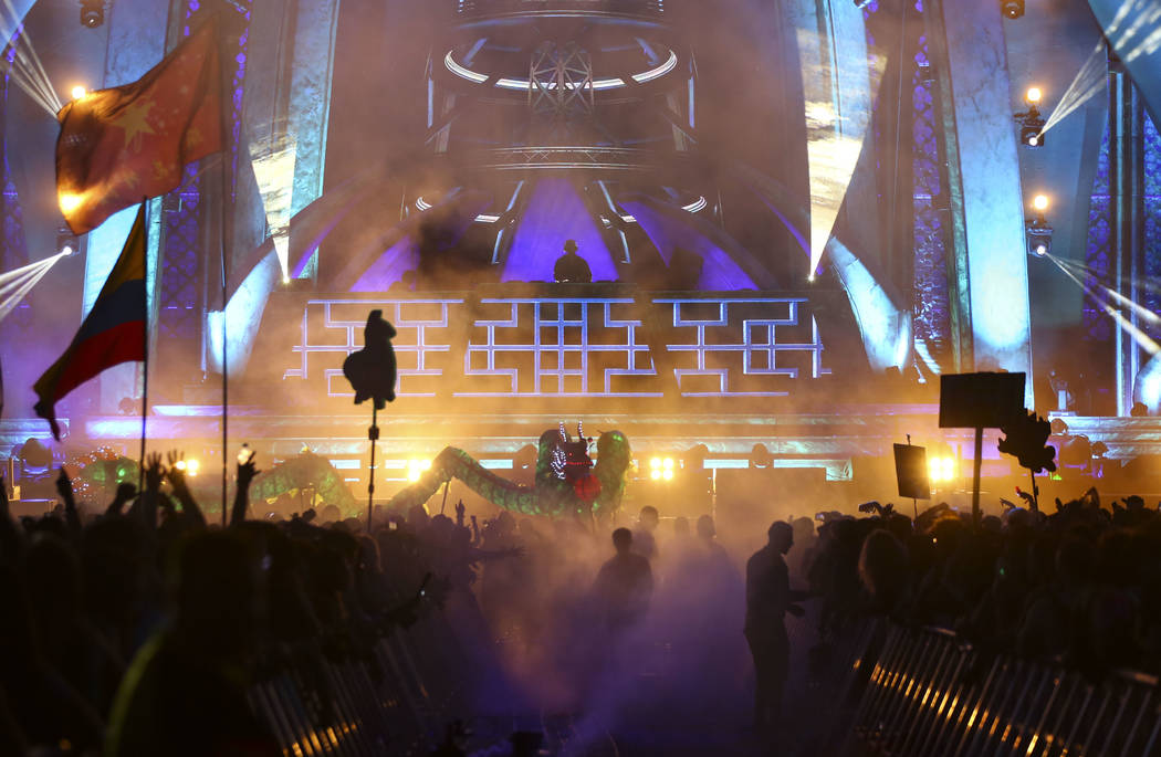 Diplo performs at the Kinetic Field during the first day of the Electric Daisy Carnival at the Las Vegas Motor Speedway in Las Vegas during the early hours of Saturday, May 19, 2018. Chase Stevens ...