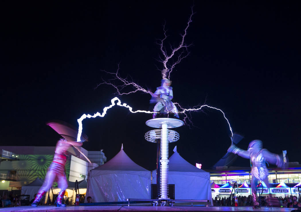 Members of SkyFire Arts perform with a Tesla coil on day one of the Electric Daisy Carnival at the Las Vegas Motor Speedway on Friday, May 18, 2018. Richard Brian Las Vegas Review-Journal @vegasph ...