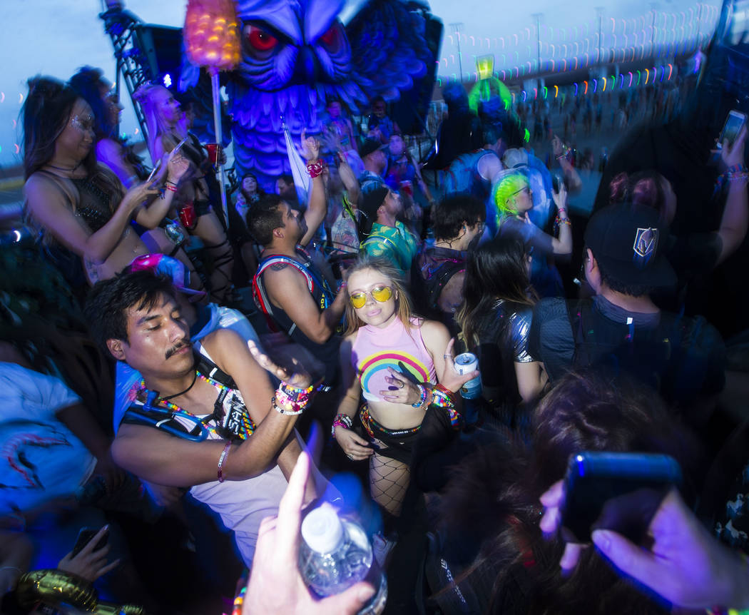 Attendees dance at the Parliament art car during the third day of the Electric Daisy Carnival at the Las Vegas Motor Speedway in Las Vegas on Sunday, May 20, 2018. Chase Stevens Las Vegas Review-J ...
