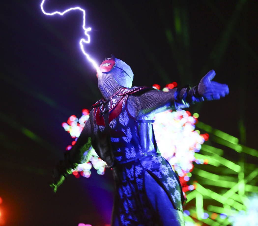 A member of SkyFire Arts performs during the third day of the Electric Daisy Carnival at the Las Vegas Motor Speedway in Las Vegas during the early hours of Monday, May 21, 2018. Chase Stevens Las ...