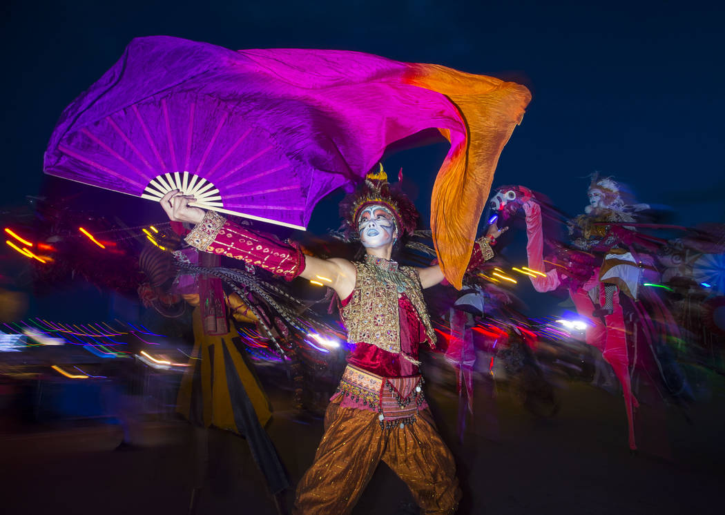 Costumed performers roam the festival grounds during the second day of the Electric Daisy Carnival at the Las Vegas Motor Speedway in Las Vegas on Saturday, May 19, 2018. Chase Stevens Las Vegas R ...