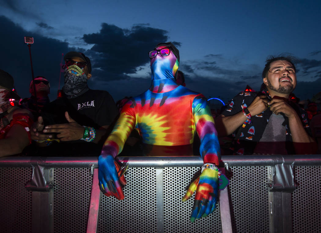 Attendees listen to music at the Basspod stage during the second day of the Electric Daisy Carnival at the Las Vegas Motor Speedway in Las Vegas on Saturday, May 19, 2018. Chase Stevens Las Vegas ...