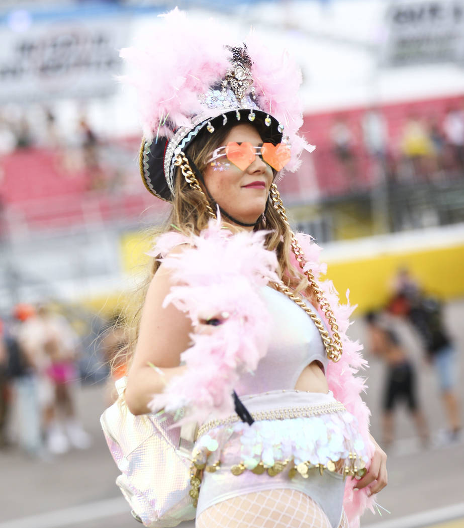Lillie Calvert of Las Vegas dances during the opening ceremony at the Cosmic Meadow stage during the third day of the Electric Daisy Carnival at the Las Vegas Motor Speedway in Las Vegas on Sunday ...