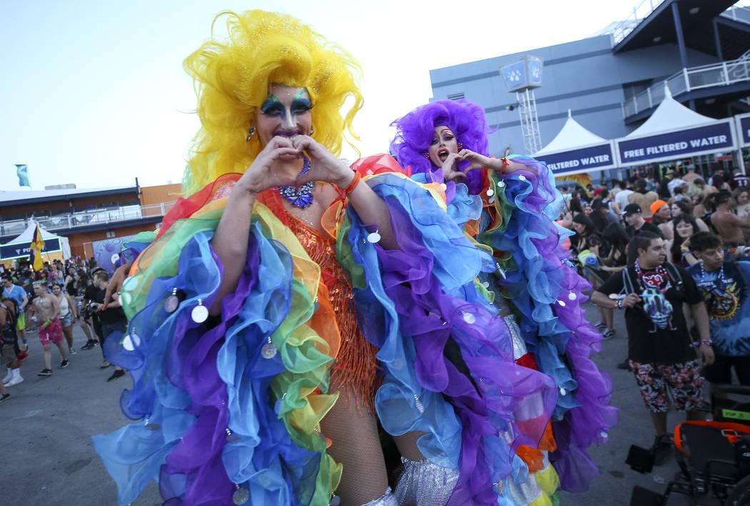 Love Rules Stilts walks through the crowd on day one of the Electric Daisy Carnival at the Las Vegas Motor Speedway on Friday, May 18, 2018. Richard Brian Las Vegas Review-Journal @vegasphotograph