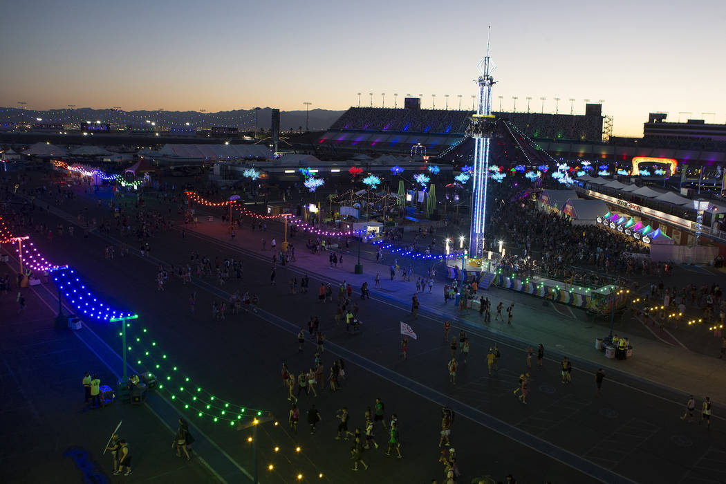 Attendees begin to fill the grounds on the second night of Electric Daisy Carnival at Las Vegas Motor Speedway on Saturday, June 17, 2017 in Las Vegas. Bridget Bennett Las Vegas Review-Journal @br ...
