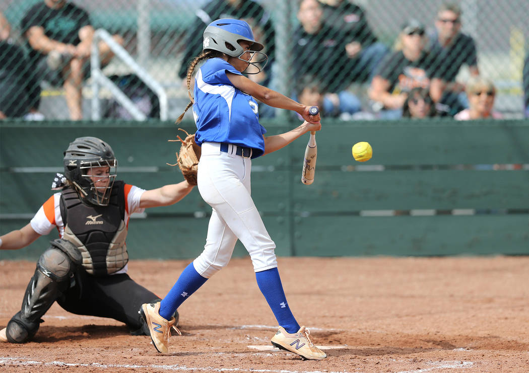 Basic Wolves' Alyssa Ferguson hits against the Douglas Tigers during the NIAA 4A softball tournament, in Reno, Nev., on Thursday, May 17, 2018. Douglas won 8-5. Cathleen Allison/Las Vegas Review-J ...