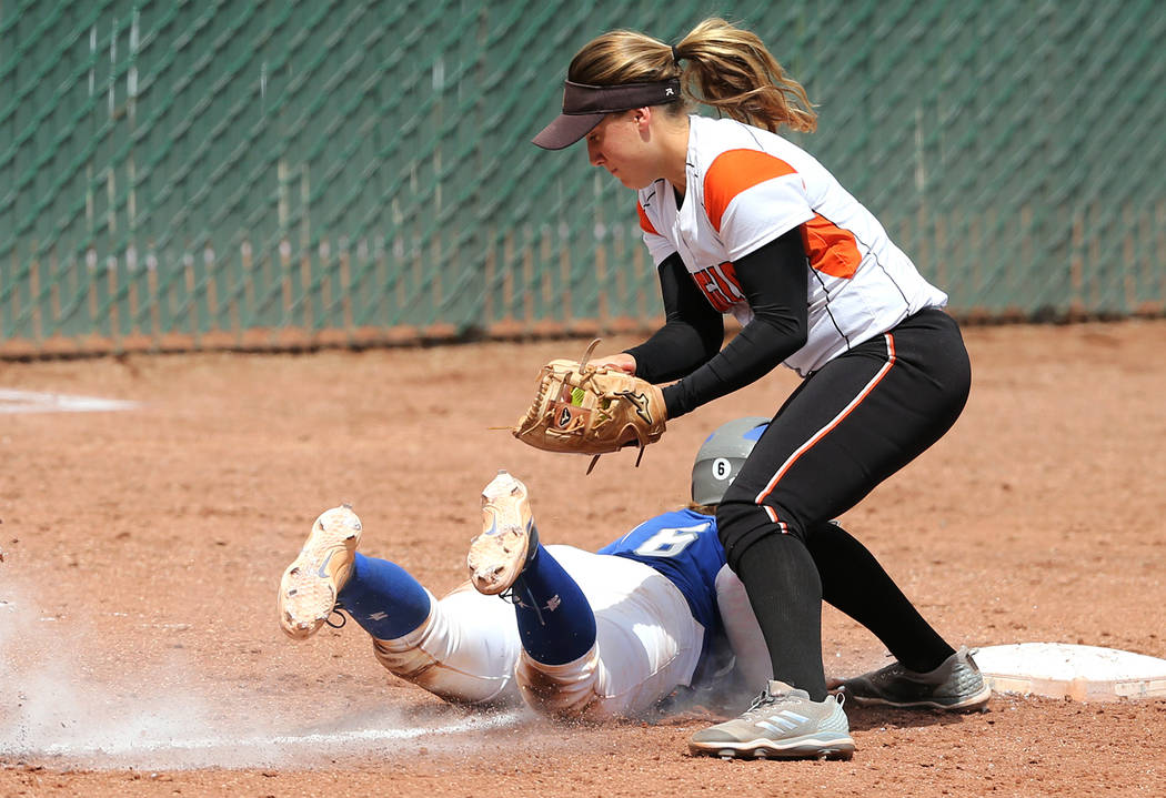 The Douglas Tigers defeat the Basic Wolves 8-5 during first round action in the NIAA 4A softball tournament, in Reno, Nev., on Thursday, May 17, 2018. Douglas won 8-5. Cathleen Allison/Las Vegas R ...