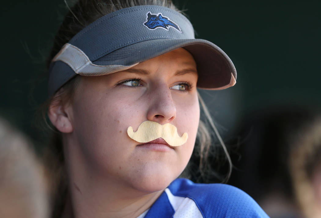 Basic Wolves' Lauren Powell watches first round action against the Douglas Tigers in the NIAA 4A softball tournament, in Reno, Nev., on Thursday, May 17, 2018. Douglas won 8-5. Cathleen Allison/La ...