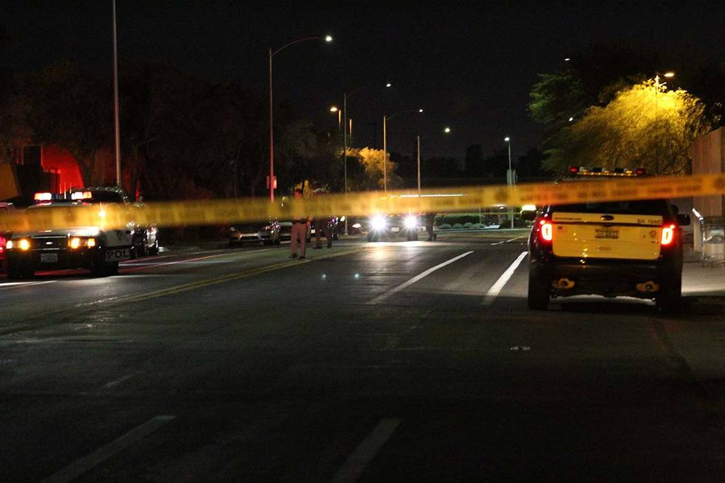 Police blocked off a portion of Lorenzi Street, near Alta Drive and Rainbow Boulevard during an investigation of an early Friday morning shooting. (Max Michor/Las Vegas Review-Journal)