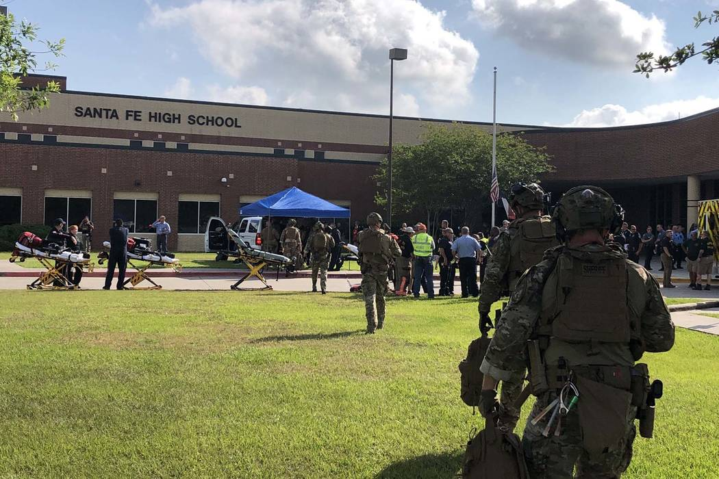 Several people were killed in a shooting at Santa Fe High School in Santa Fe, Texas, about 30 miles from Houston, Friday, May 18, 2018. (Harris County Sheriff's Office/Twitter)