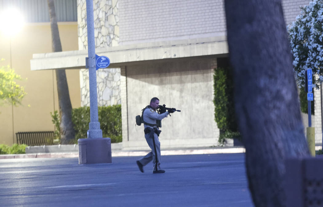 Police canvass the scene outside Sears at the Boulevard Mall in Las Vegas on Thursday, May 17, 2018. Richard Brian Las Vegas Review-Journal @vegasphotograph