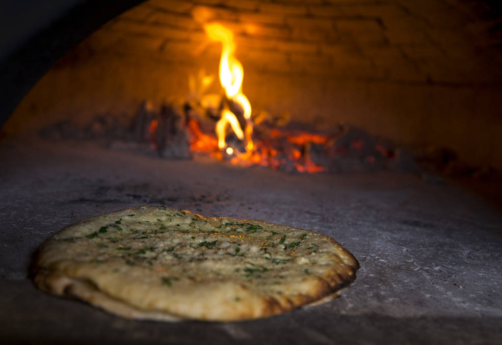 Recco style garlic bread in a wood fired oven at Masso Osteria inside Red Rock Casino in Las Vegas on Monday, May 21, 2018. Richard Brian Las Vegas Review-Journal @vegasphotograph