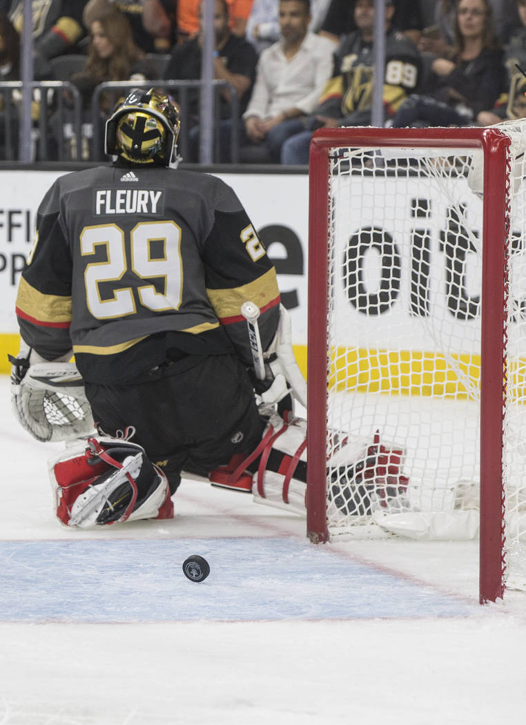 Golden Knights goaltender Marc-Andre Fleury (29) shrugs after giving up a second period goal during game four of Las Vegas' NHL Western Conference Finals matchup with Winnipeg on Friday, May 18, 2 ...