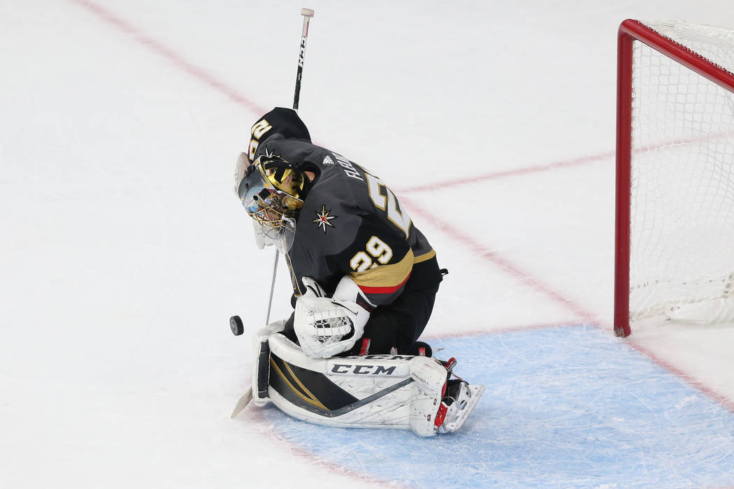 Vegas Golden Knights goaltender Marc-Andre Fleury (29) defends a shot against Winnipeg Jets during the first period in Game 4 of the Western Conference Final at T-Mobile Arena in Las Vegas, Friday ...