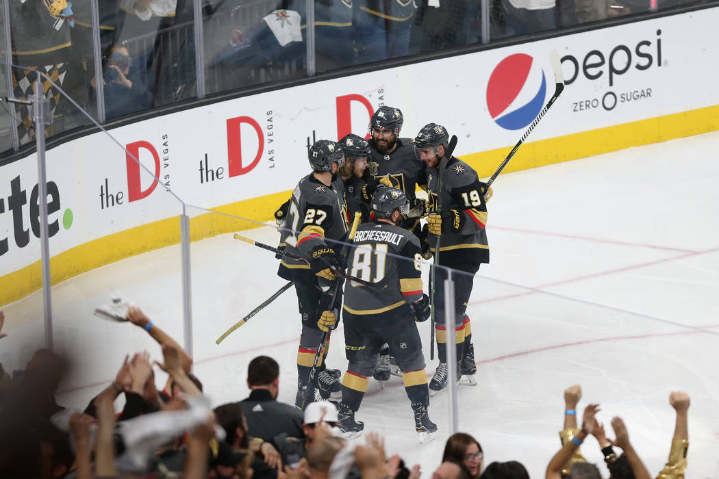 Vegas Golden Knights center William Karlsson (71) celebrates a score with his team against the Winnipeg Jets during the first period in Game 4 of the Western Conference Final at T-Mobile Arena in ...