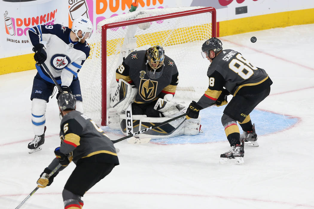 Vegas Golden Knights goaltender Marc-Andre Fleury (29) defends a shot against Winnipeg Jets during the second period in Game 4 of the Western Conference Final at T-Mobile Arena in Las Vegas, Frida ...