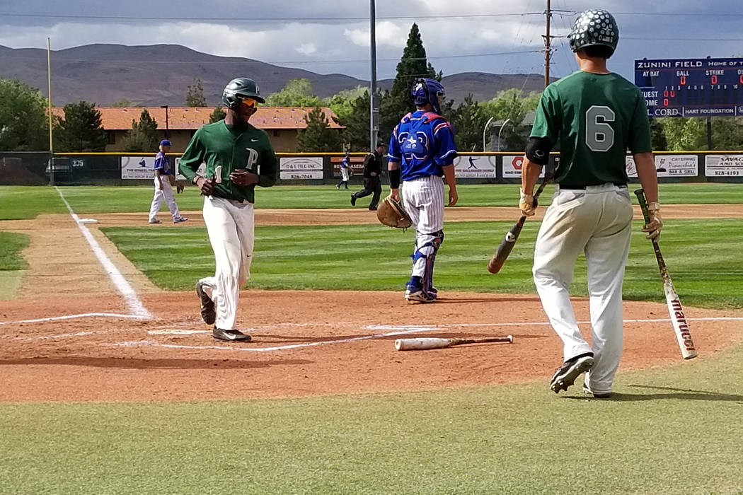 Palo Verde's Scott Cosby scores the first run against Reno in the Class 4A state baseball tournament on Friday, May 18, 2018 at Reno High. Palo Verde won 5-2. (Damon Seiters/Las Vegas Review-Journal)