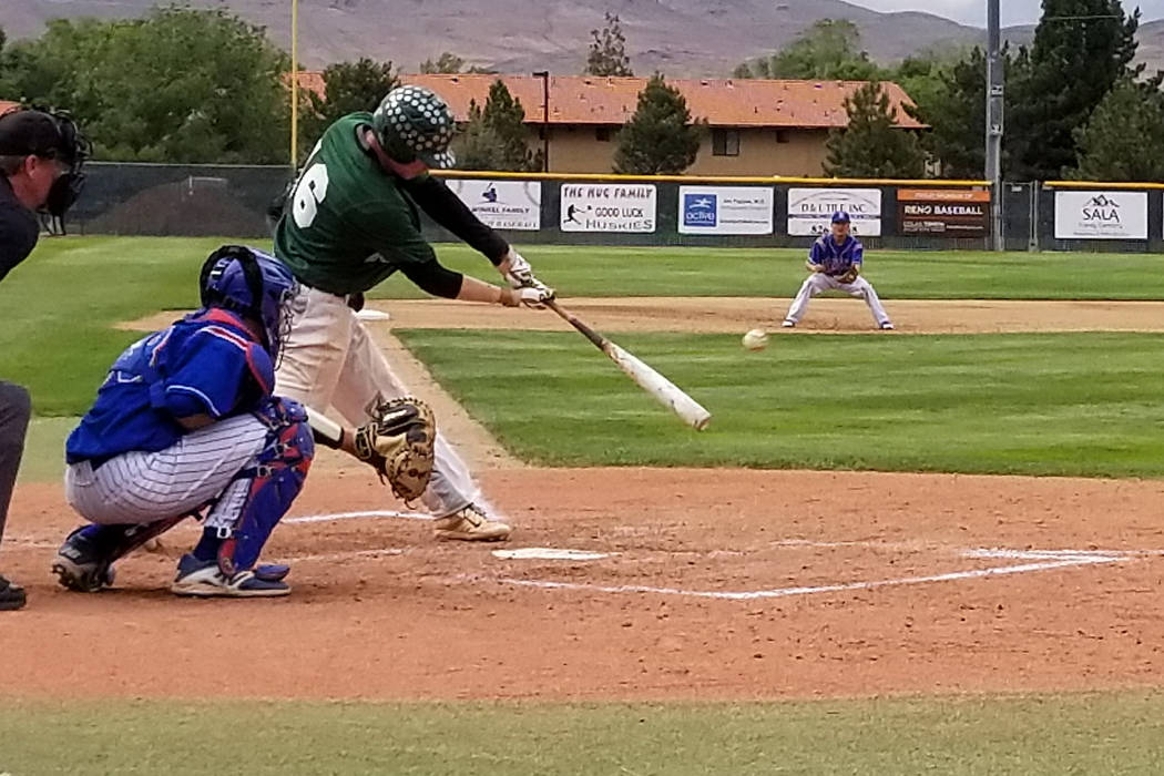 Palo Verde's Josiah Cromwick delivers an RBI double against Reno in the Class 4A state baseball tournament on Friday, May 18, 2018 at Reno High. Palo Verde won 5-2. (Damon Seiters/Las Vegas Review ...