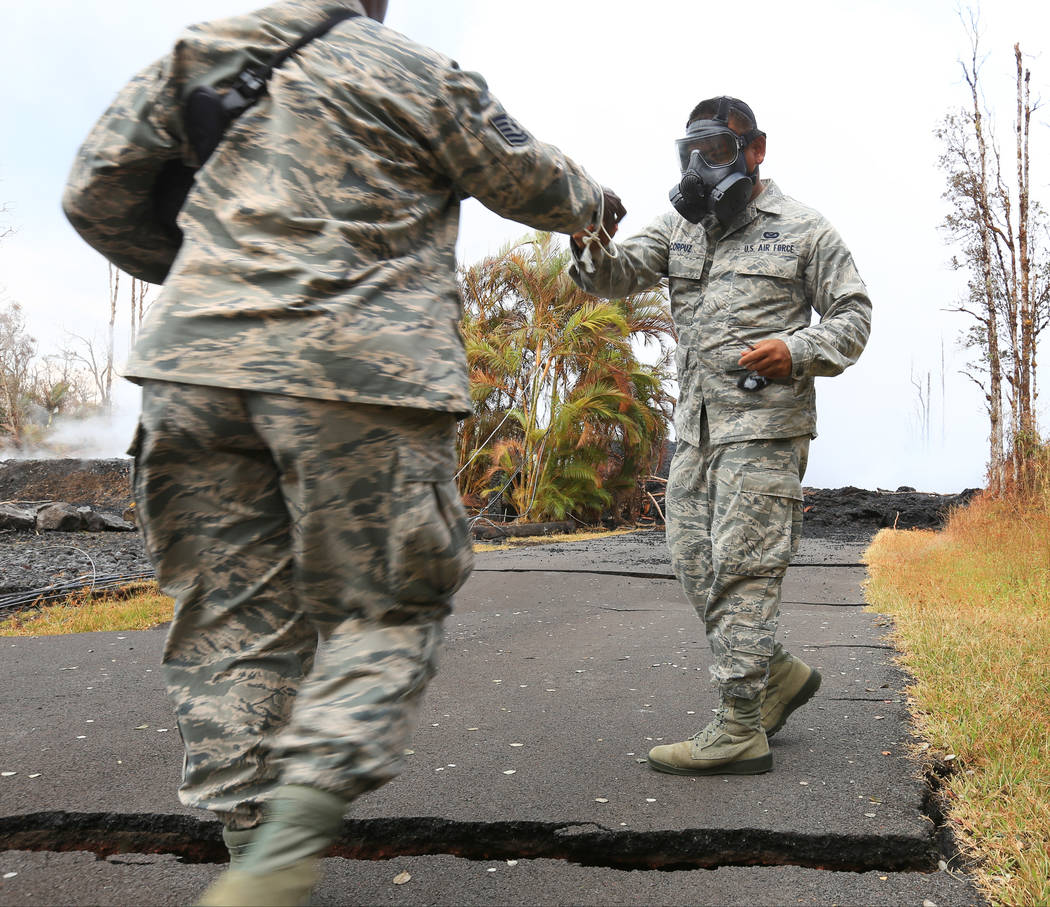 Hawaii Air National Guard members give a tour of the Kilauea eruptions in Leilani Estates, Hawaii, on Friday, May 18, 2018. Brett LeBlanc Las Vegas Review-Journal