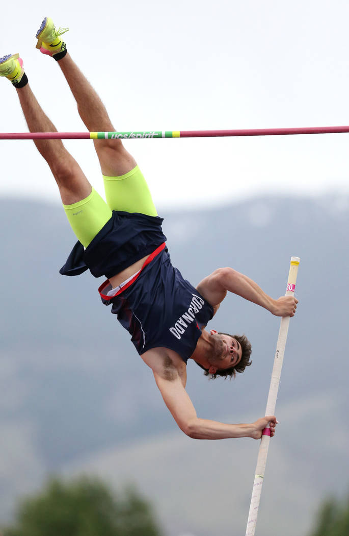 Coronadoճ Edward Andrews clears 15ՠin the pole vault to tie for the title at the NIAA Track & Field Championships at Carson High in Carson City, Nev., on Friday, May 18, 2018. Cath ...