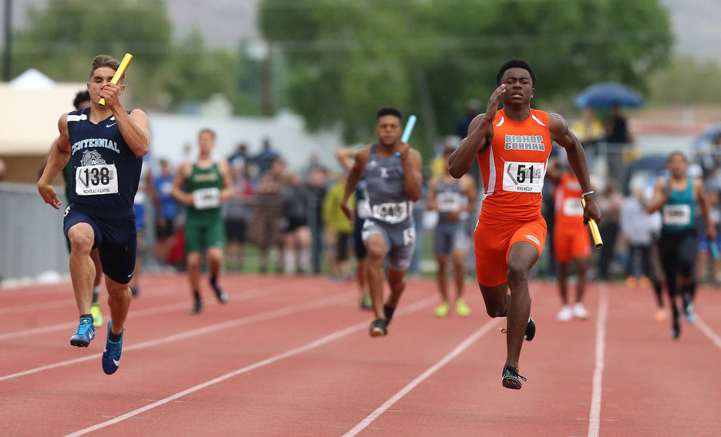 Kyu Kelly runs the anchor leg as Bishop Gorman wins the 4A 4x100 relay at the NIAA Track & Field Championships at Carson High in Carson City, Nev., on Friday, May 18, 2018. Cathleen Allison/La ...
