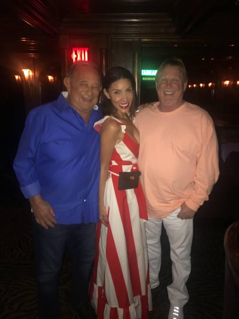 Piero's owner Freddie Glusman, Romy Ashjian and Raiders owner Mark Davis are shown at Piero's Italian Restaurant on Friday, May 19, 2018. (Piero's Restaurant)