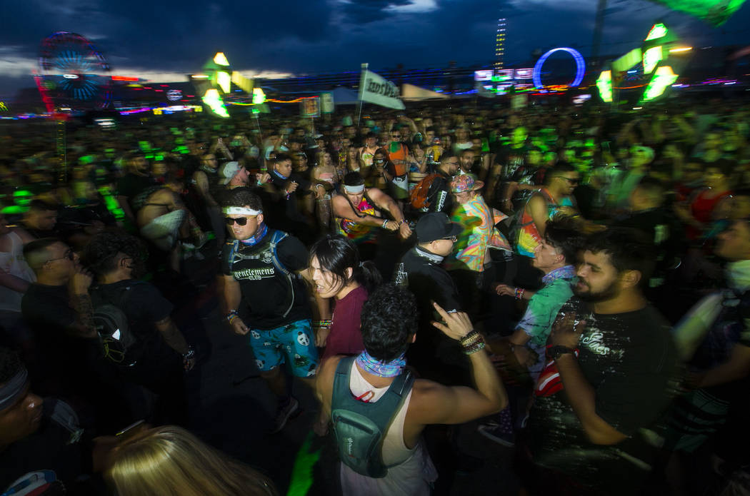 Attendees mosh at the Basspod stage during the second day of the Electric Daisy Carnival at the Las Vegas Motor Speedway in Las Vegas on Saturday, May 19, 2018. Chase Stevens Las Vegas Review-Jour ...