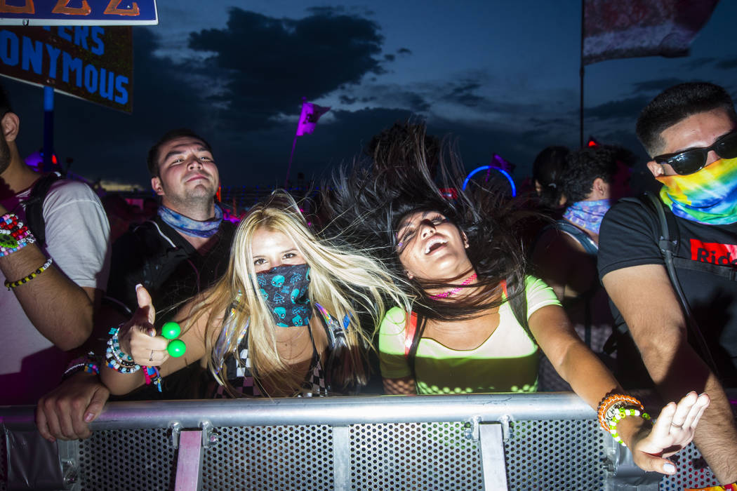 Attendees dance to music at the Basspod stage during the second day of the Electric Daisy Carnival at the Las Vegas Motor Speedway in Las Vegas on Saturday, May 19, 2018. Chase Stevens Las Vegas R ...