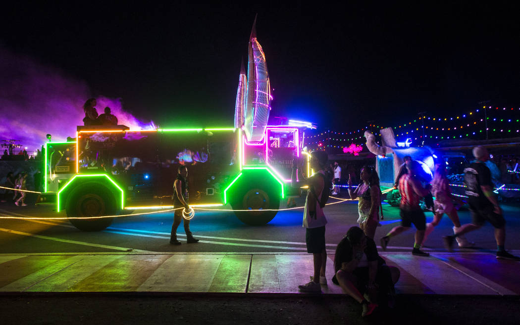 Art cars roam the festivalgrounds during the second day of the Electric Daisy Carnival at the Las Vegas Motor Speedway in Las Vegas on Saturday, May 19, 2018. Chase Stevens Las Vegas Review-Journa ...