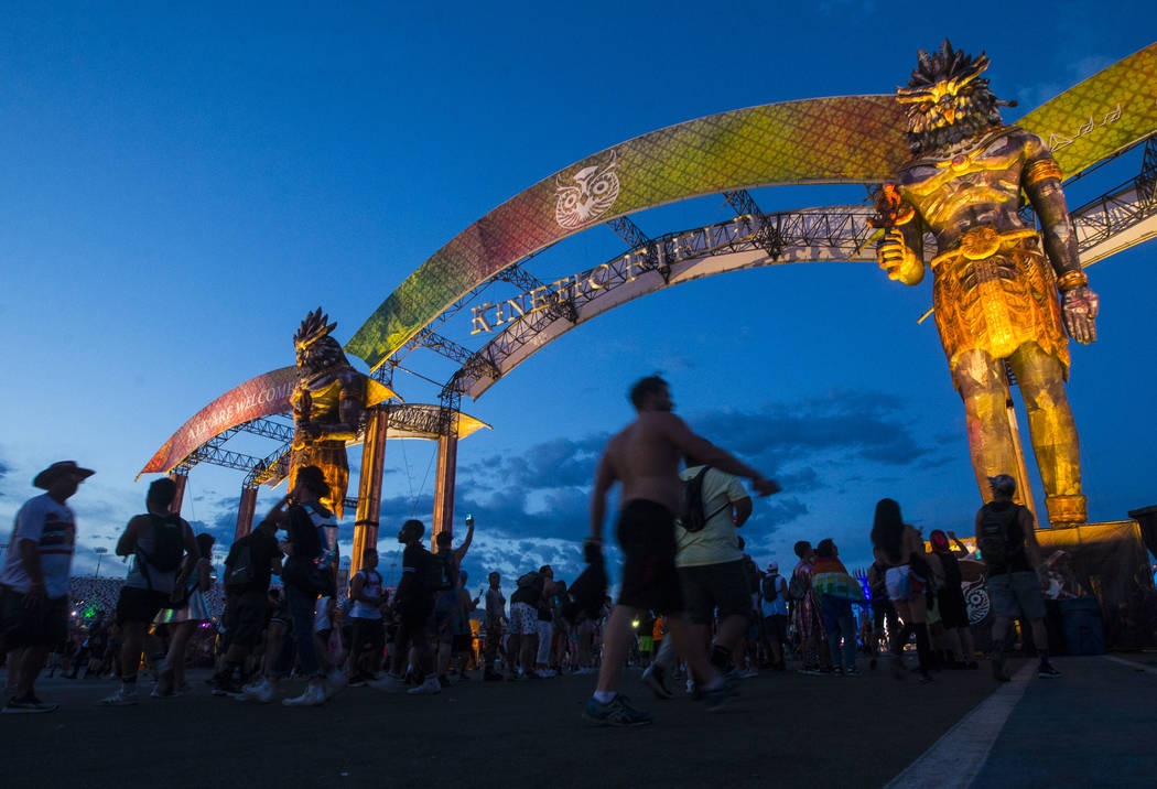 Attendees make their way to the Kinetic Field during the second day of the Electric Daisy Carnival at the Las Vegas Motor Speedway in Las Vegas on Saturday, May 19, 2018. Chase Stevens Las Vegas R ...