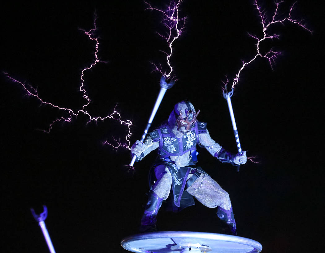 Members of SkyFire Arts perform with a Tesla coil on day two of the Electric Daisy Carnival at the Las Vegas Motor Speedway on Saturday, May 19, 2018. Richard Brian Las Vegas Review-Journal @vegas ...