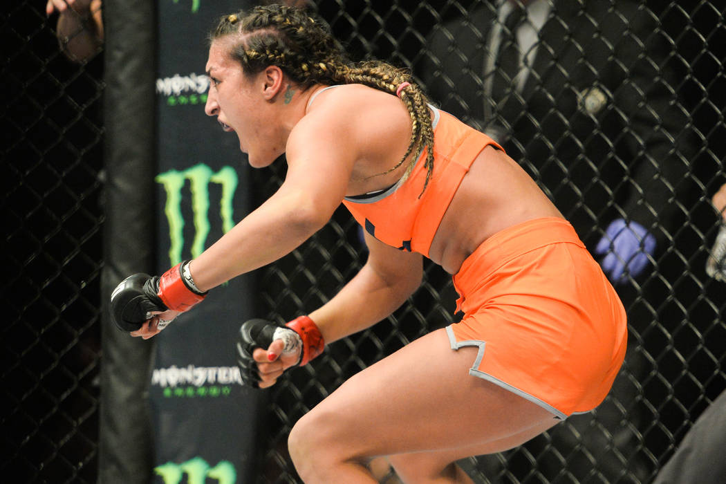 Tatiana Suarez reacts to her submission win over Amanda Cooper in The Ultimate Fighter 23 Finale at the MGM Grand Garden Arena in Las Vegas on Friday, July 8, 2016. Brett Le Blanc/Las Vegas Review ...