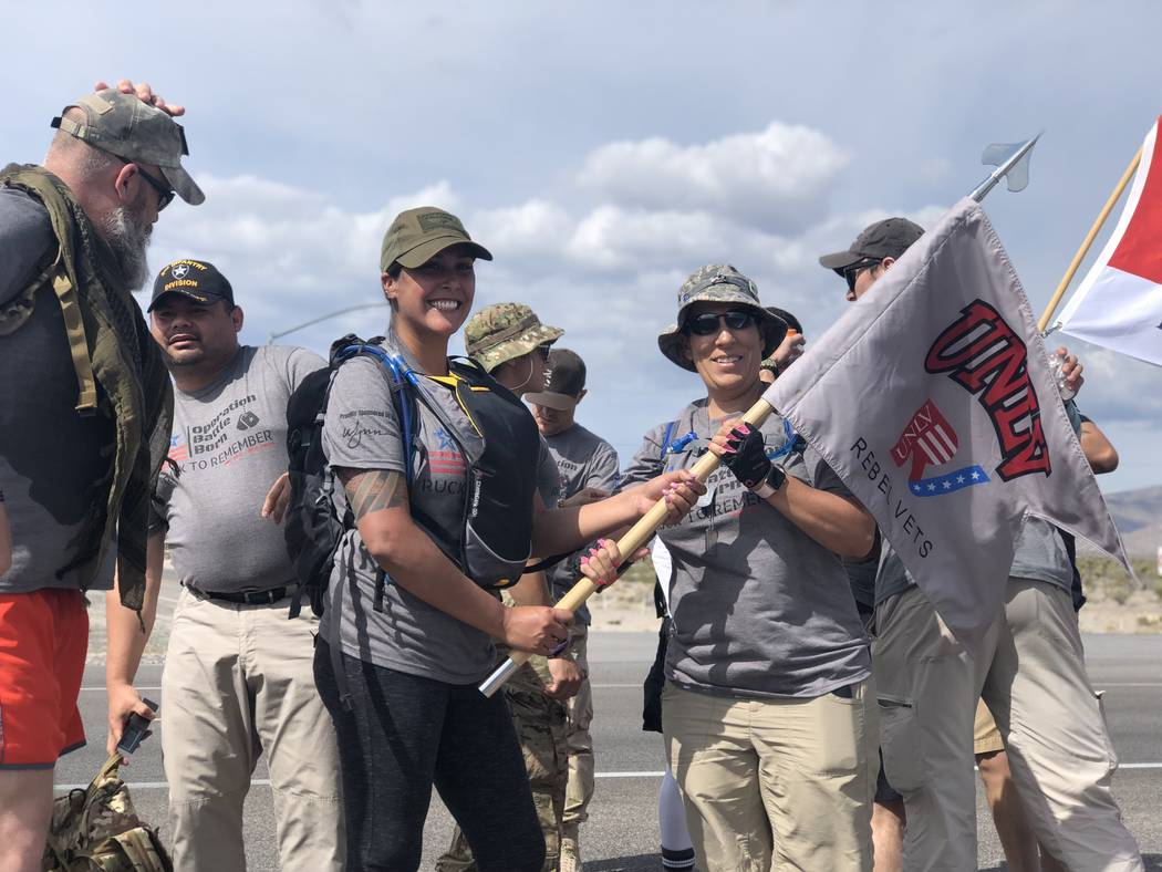 Nevada veterans and community members walk 370 miles with 7,000 dog tags in honor of fallen service members since 9/11. The Ruck March began in Southern Nevada on Sunday, May 20, 2018. (Rio Lacanl ...