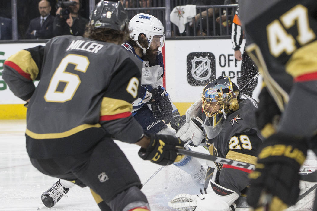 Golden Knights goaltender Marc-Andre Fleury (29) makes a save in the second period during game four of Las Vegas' NHL Western Conference Finals matchup with Winnipeg on Friday, May 18, 2018, at T- ...