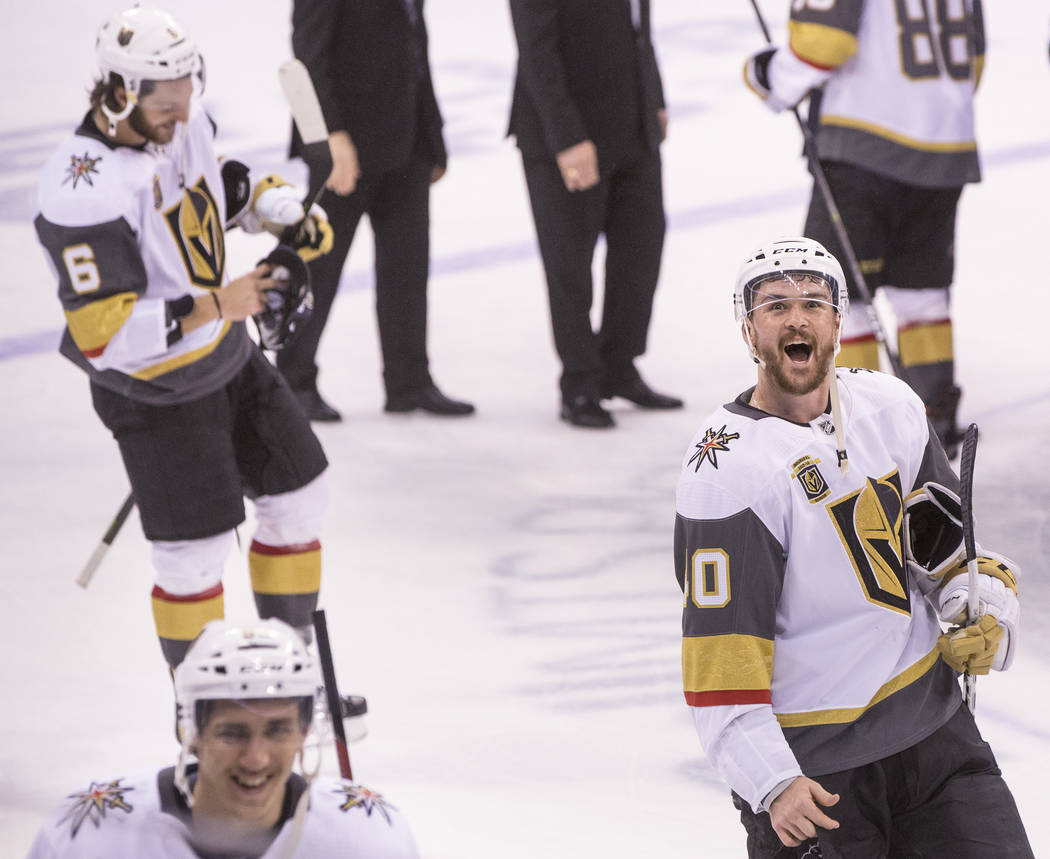 Golden Knights center Ryan Carpenter (40) celebrates after Las Vegas beat the Winnipeg Jets 2-1 to advance to the Stanley Cup Finals on Sunday, May 20, 2018, at Bell MTS Place, in Winnipeg, Canada ...
