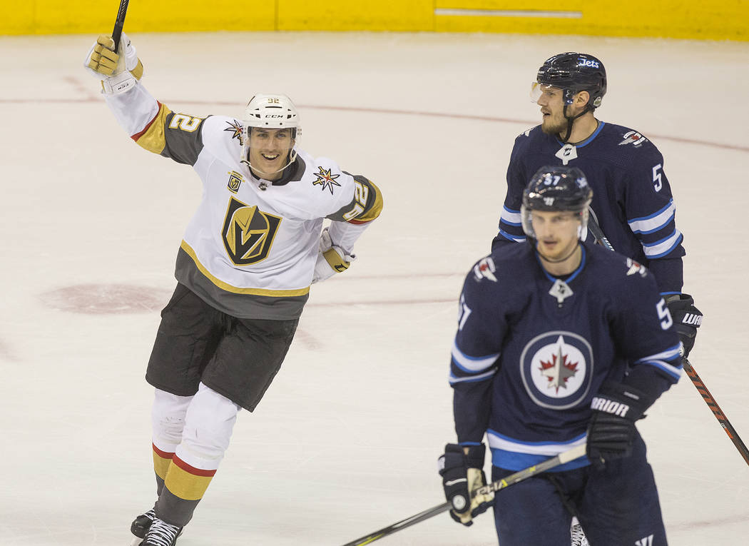 Golden Knights center Tomas Nosek (92) celebrates after right wing Ryan Reaves (75) scored a second period goal during game five of the NHL Western Conference Finals on Sunday, May 20, 2018, at Be ...