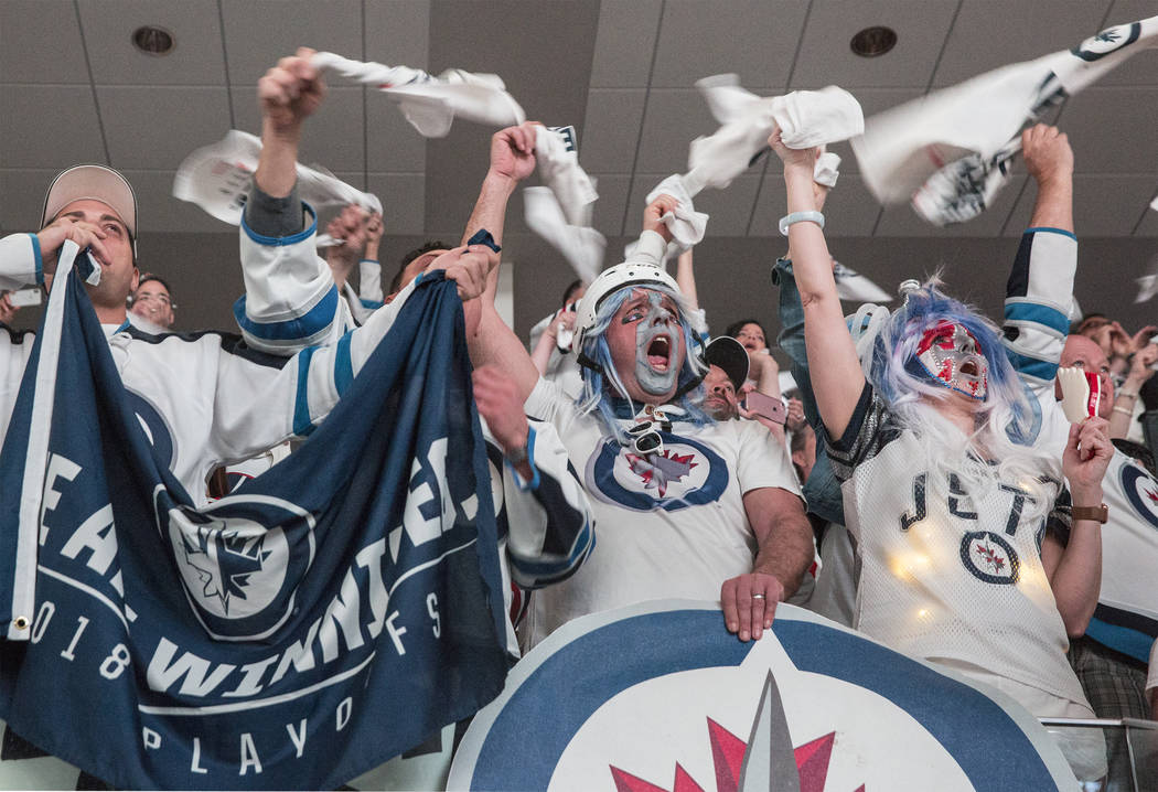 Jets fans cheer during the first period of game five of the NHL Western Conference Finals on Sunday, May 20, 2018, at Bell MTS Place, in Winnipeg, Canada. Benjamin Hager Las Vegas Review-Journal @ ...