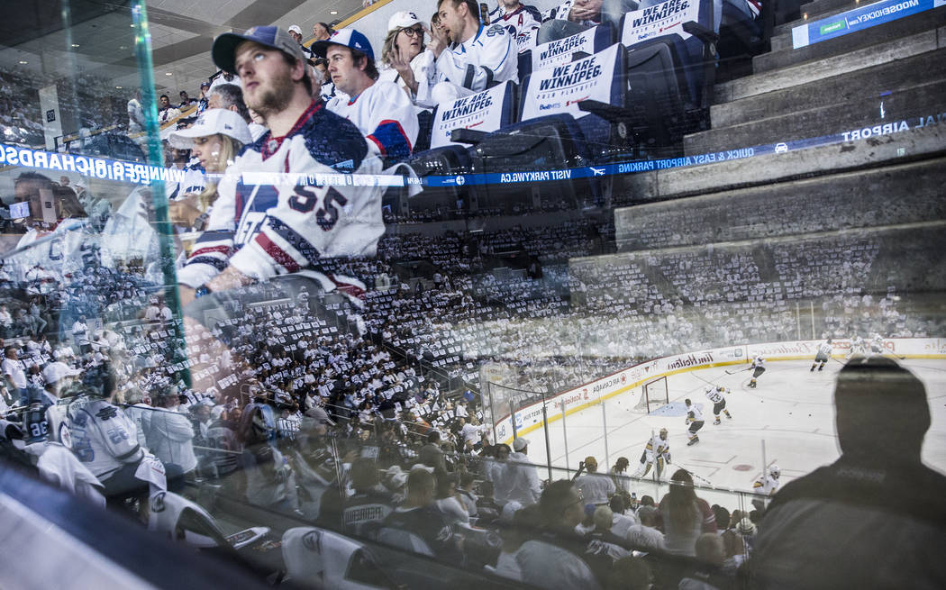 Jets fans watch warmups before the start of game five of the NHL Western Conference Finals on Sunday, May 20, 2018, at Bell MTS Place, in Winnipeg, Canada. Benjamin Hager Las Vegas Review-Journal ...