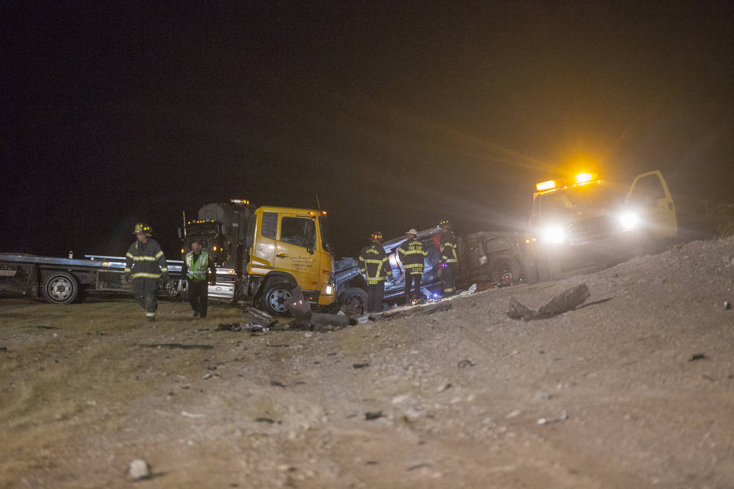 The GMC 2500 truck that flipped into the ditch in the multi fatality crash on U.S. Highway 95, near Amargosa Valley in Nye County, Sunday, May 20, 2018. (Rachel Aston Las Vegas Review-Journal @roo ...