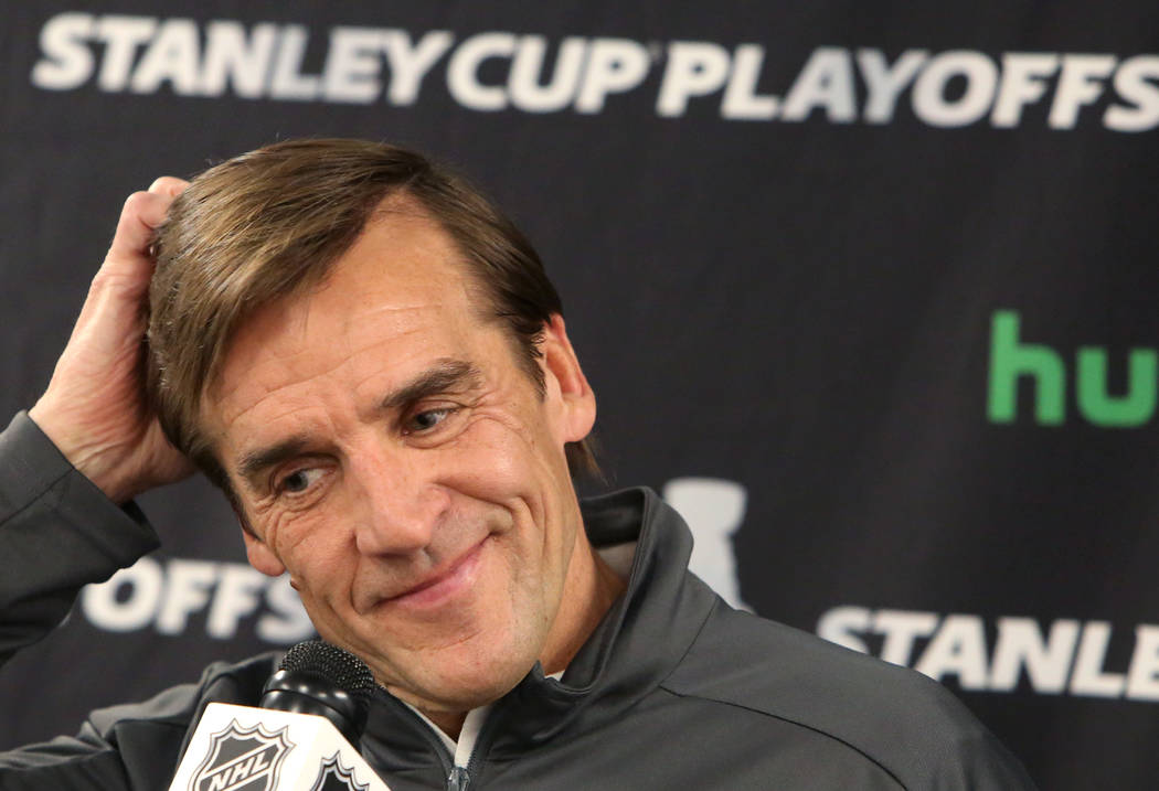Vegas Golden Knights general manager George McPhee pauses as he speaks during a press conference at City National Arena on Monday, May 7, 2018, in Las Vegas. Bizuayehu Tesfaye/Las Vegas Review-Jou ...
