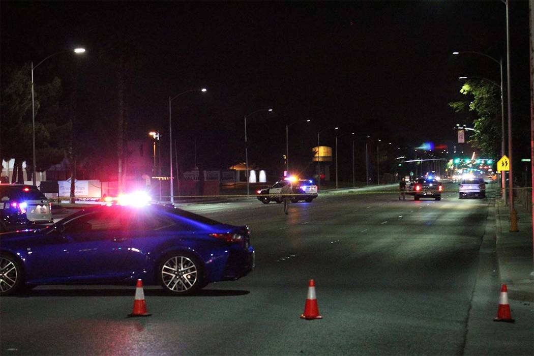 A 16-year-old girl was seriously injured Sunday night after being hit by vehicle while trying to cross Bonanza Road at Honolulu Street. (Max Michor/Las Vegas Review-Journal)