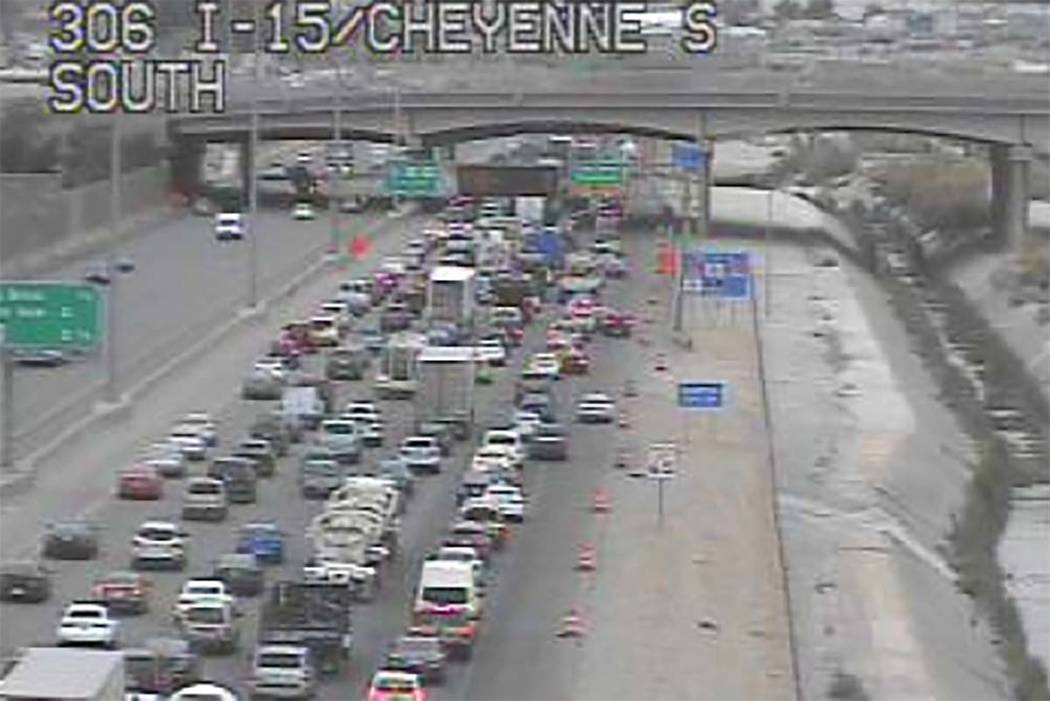 Traffic heading south on Interstate 15 was backed up passed Cheyenne Avenue as of 8:30 a.m. Monday, May 21, 2018. Most of it was due to the Electric Daisy Carnival ending about 5:30 a.m. at the La ...