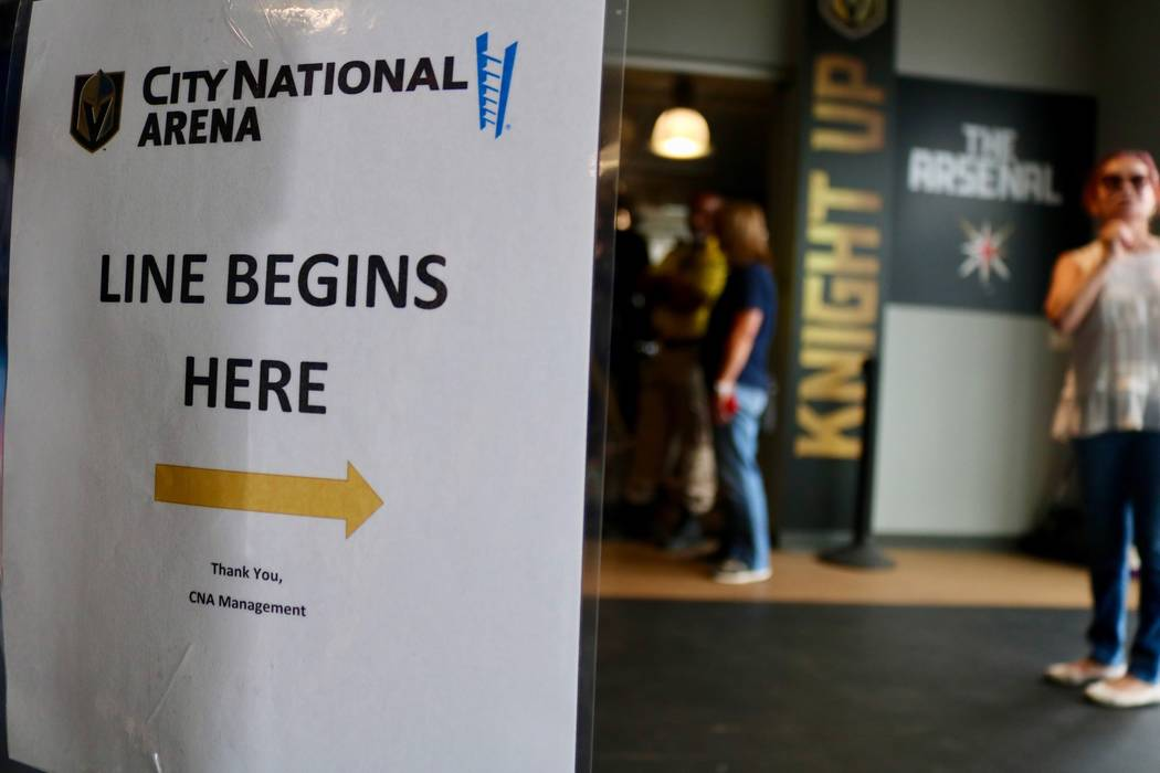 Golden Knights fans line up to buy merchandise from The Arsenal Pro Shop at City National Arena in Las Vegas, Monday, May 21, 2018. Madelyn Reese/Las Vegas Review-Journal