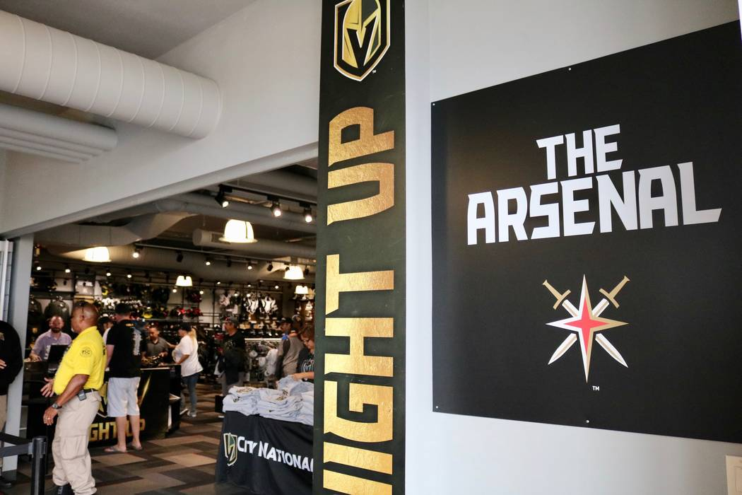 Golden Knights file in to buy merchandise from The Arsenal Pro Shop at City National Arena in Las Vegas, Monday, May 21, 2018. Madelyn Reese/Las Vegas Review-Journal