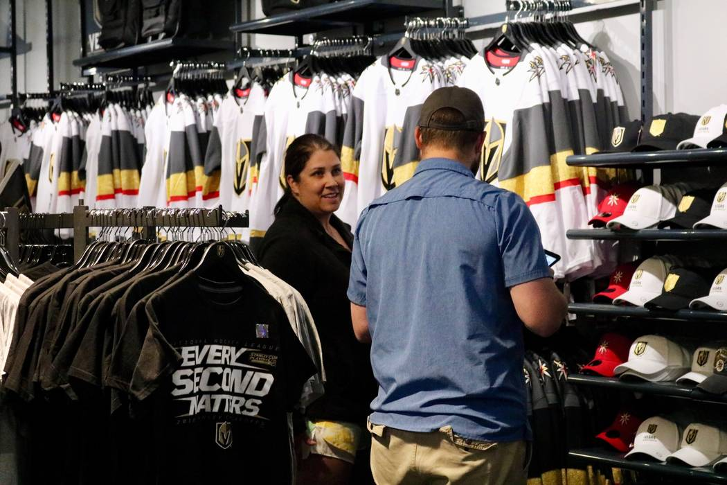 Golden Knights file peruse merchandise from The Arsenal Pro Shop at City National Arena in Las Vegas, Monday, May 21, 2018. Madelyn Reese/Las Vegas Review-Journal